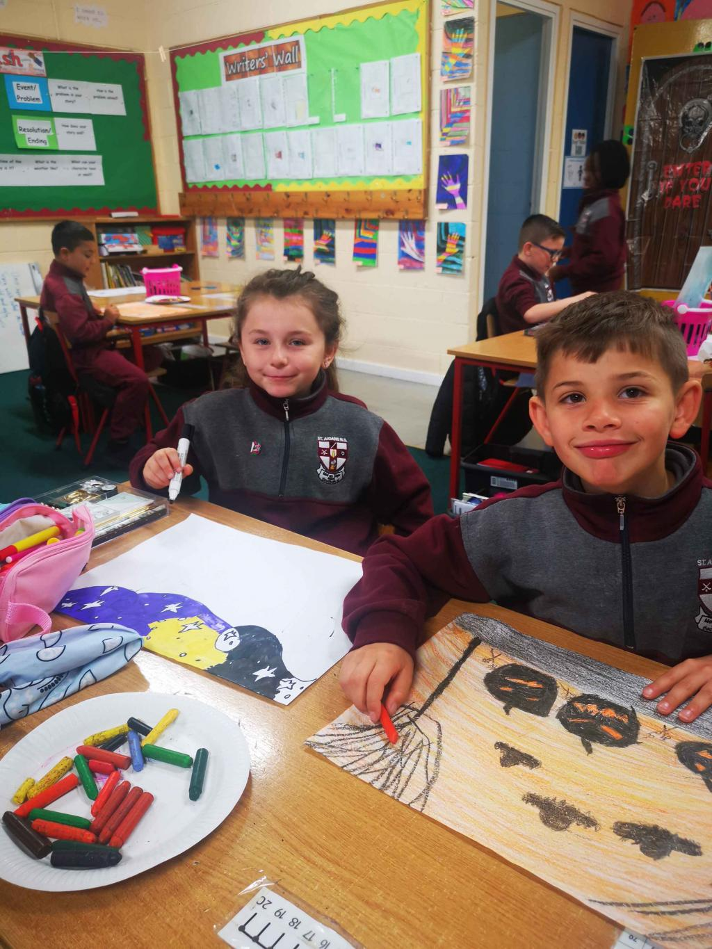 Ms. Geraghty's 3rd Class getting ready for the Halloween Competition.