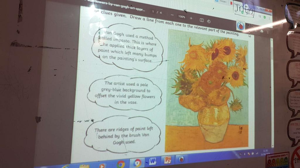 Van Goghs Sunflowers in Ms.Riordans 3rd class.