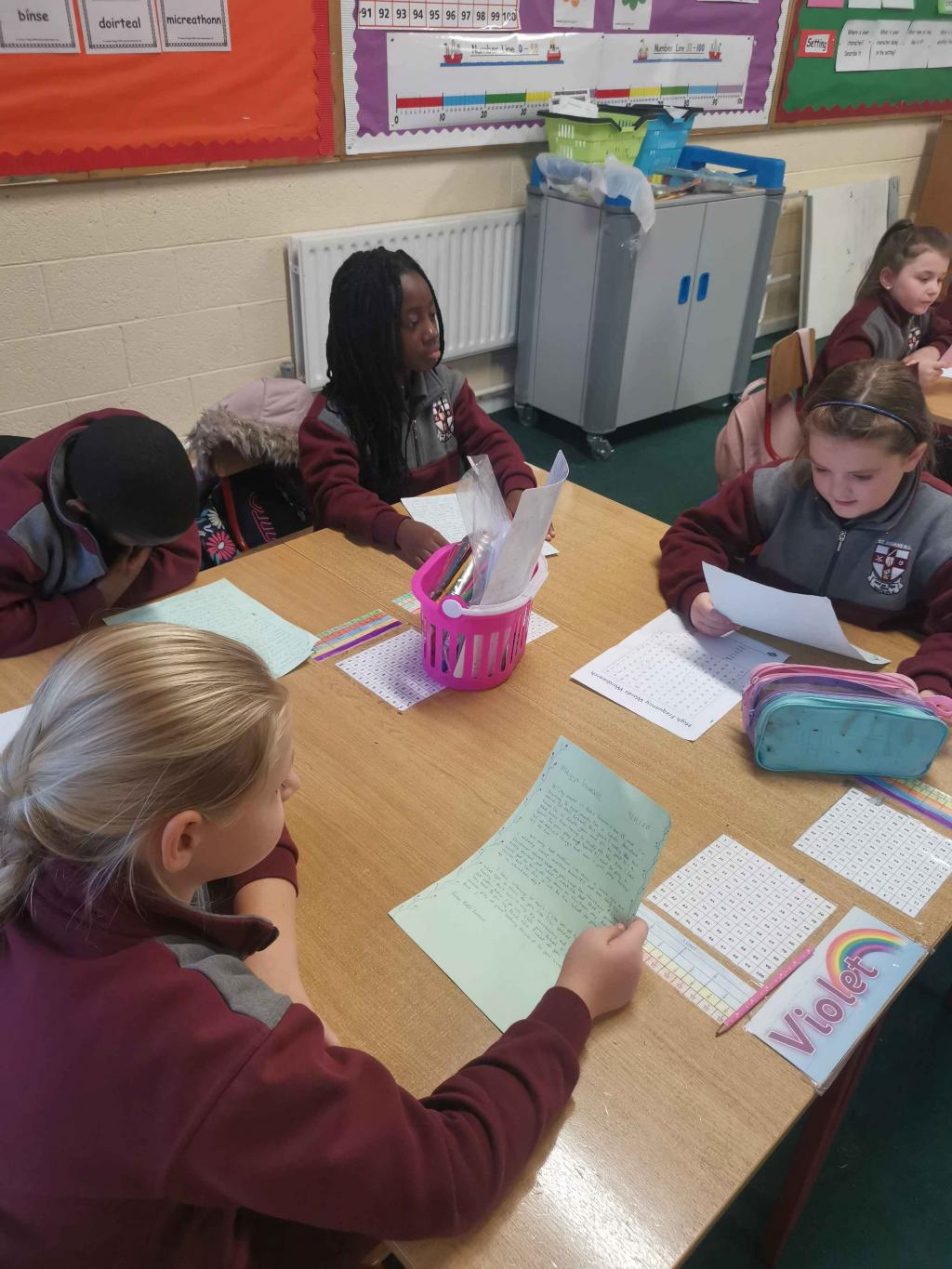 Reading our Christmas letters from Loretto 4th year girls