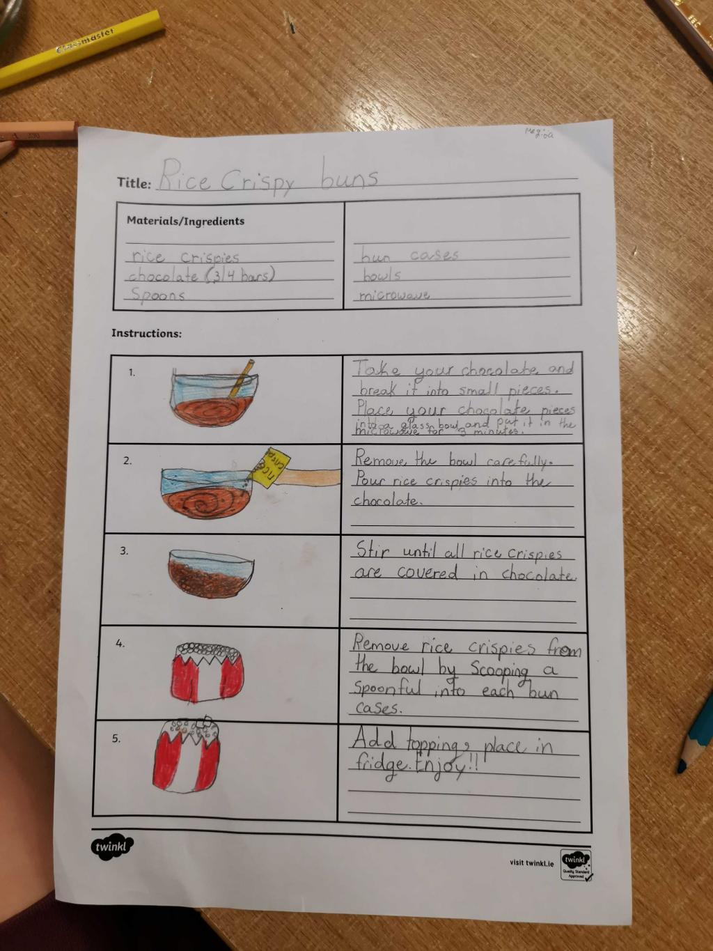 Procedural Writing- Rice Crispie buns